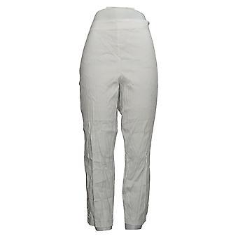 J.Jill Women's Stretch Linen Button Hem Ankle Pants White A390662
