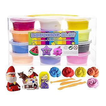 12-Pack Blød og elastisk hoppende Clay / Fluffy Slime