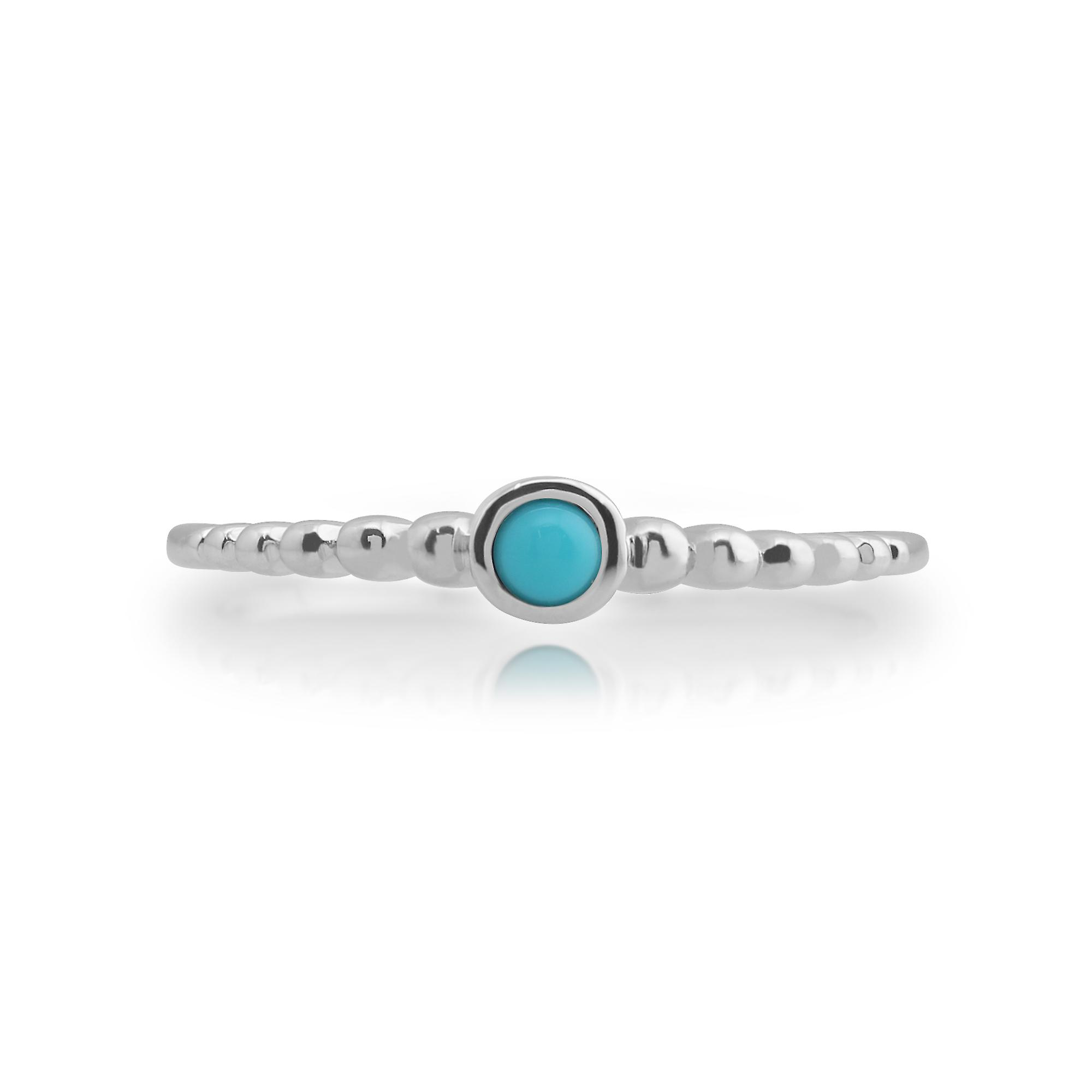 Gemondo 925 Sterling Silver 0.15ct Turquoise Stackable Birthstone Ring