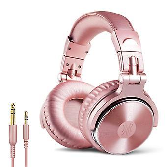 """אוזניות OneOdio Studio עם חיבור AUX בגודל 6.35 מ""""מ ו-3.5 מ""""מ - אוזניות עם אוזניות DJ למיקרופון ורוד"""