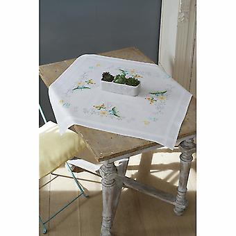 Vervaco Cross Stitch Kit: Tafelkleed: Bloemen & Vlinders