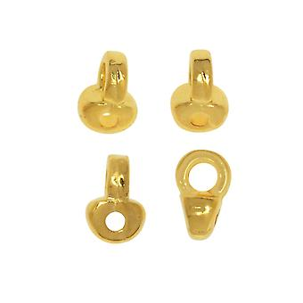 Cymbal Bead Endings fit Superduo Beads, Remata, 5mm, 4 Piezas, 24kt Gold Plated