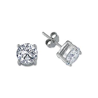 Jewelco London Rhodium Plated Sterling Silver Round Cubic Cyrkonia Solitaire Stud Kolczyki 8mm