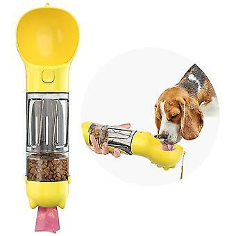 الأصفر 300ml موزع الحيوانات الأليفة مع تخزين المواد الغذائية شرب وعاء أنبوب bagand مجرفة cai907