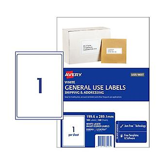 Avery General Label L7167Gu 1Up Box Of 100