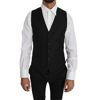 多尔切 – 加巴纳黑色固体羊毛丝绸背心