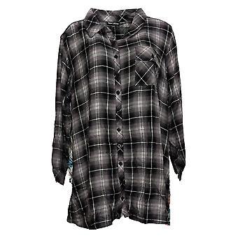 Tolani Collection Women's Plus Top Plaid Tunic Print Back Black A383446