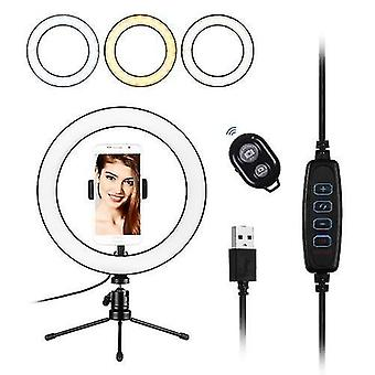 10inch LED Ring Light Photography Fill-in Lamp 3 Lystilstande Dæmpbar USB-strøm