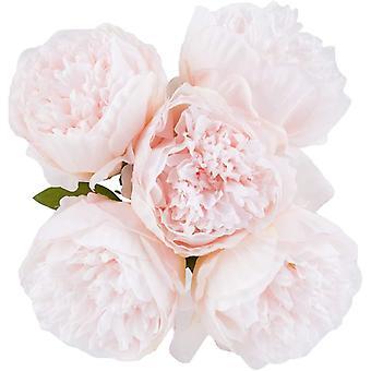 Vintage Pfingstrosen Künstlich Seide Blumen Blumenstrauß für die Dekoration, 5 Köpfe Hellrosa