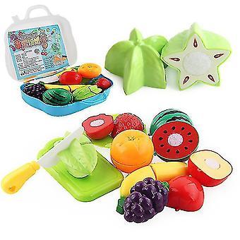 11 PCS-simulaatio leikkaa hedelmiä ja vihanneksia teeskentelee lelulaukku asettaa lasten koulutuksen