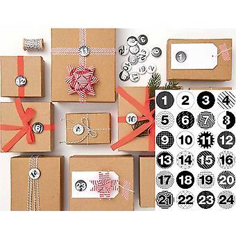 24 numrerade emblem för Advent kalender hantverk - monokrom