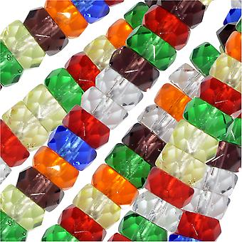 الخرز الزجاجي التشيكي، رونديل ذو الأوجه 3x6 مم، 60 قطعة، رينبو ميكس