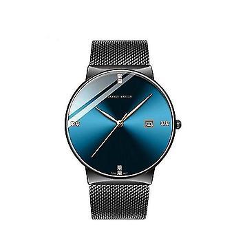 Mannen business casual roestvrij staal quartz horloge (black face diamond)