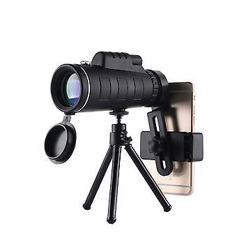 40X60 عالية الطاقة HD Monocular مع حامل الهاتف الذكي وحامل ترايبود للماء مع لمشاهدة الطيور التخييم المشي لمسافات طويلة مباراة السفر تلسكوبات الحياة البرية،(أسود)