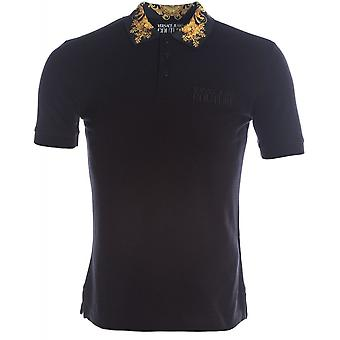 Versace Jeans Couture Cotton Black Polo Shirt With Floral Print Collar