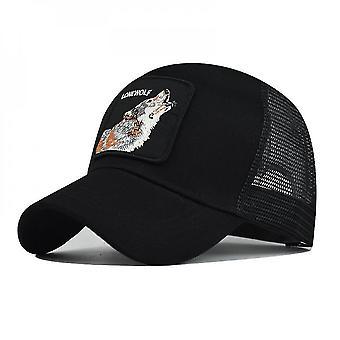 כובע בייסבול שחור בעל חיים זאב רקום כובע גברים בחוץ ספורט מזדמן snapback כובע lc080