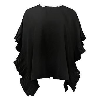 DG2 By Diane Gilman Women's Top Pleated Poncho Blouse Black 697478