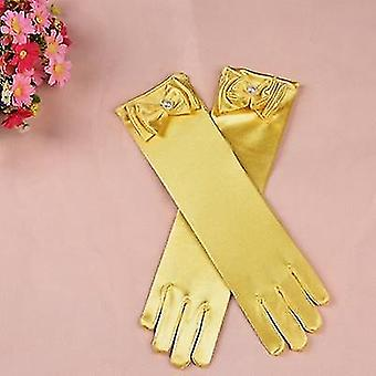 Long Princess Satin Gloves With Bow