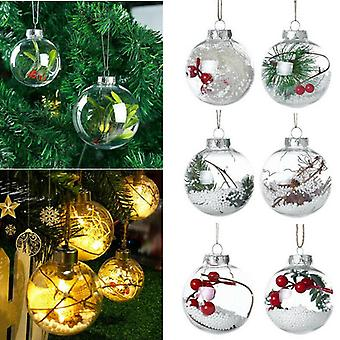 36pcs Clear Plastic Ball Baubles Sphere Fillable Christmas Tree Ornament Xmas