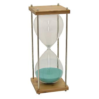 Plutus Brands Bamboo Glass Sand Timer in Blue Glass