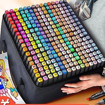 Hywell 60 Color Marker Pens, Double-Tip Art Sketch Marker Pens, Los artistas usan mangas protectoras para dibujar bocetos para colorear adultos
