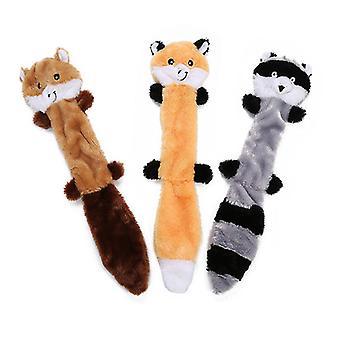 3pcs Dog Toy Squeaky Peluche farcie Pas de farce et fourrure mince