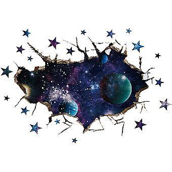 Carta da parati fai-da-da-parati fai-da-parati 3-dimensionale Adesivo da parete Star Universe Adesivi murali per la decorazione della parete della camera da letto 27.6x19.7in