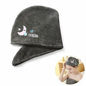 Twisted Quick Dry Hair Towel For Wet Hair Dry Hair Cap Quick Dry Towel Absorbent Cap (gray