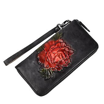 Vintage Flowers Leather Handbag With Wrist Strap