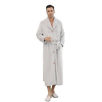 Men Luxurious Plush Kimono Bathrobe With Side Pockets