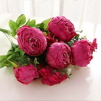 פרחים מלאכותיים 32 פרחי אדמונית בסגנון אירופאי