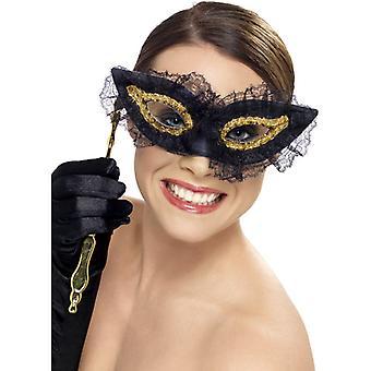 Oko maska maska oko z posiadacz czarnego złota Venezia oczy maska