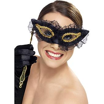Maska oko masky s držákem černý zlatý Venezia maska