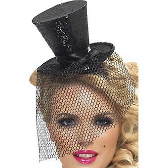 מיני צילינדר עם צילינדר עם כובע שחור עם סרט ראש