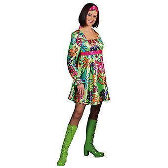 Vrouwen kostuums vrouwen Magic vrede hippie jurk satijn