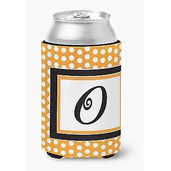Lettera O monogramma iniziale - arancione Polkadots lattina o bottiglia bevanda isolante Hu