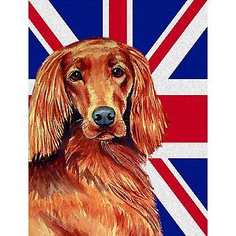 Irish Setter with English Union Jack British Flag Flag Garden Size