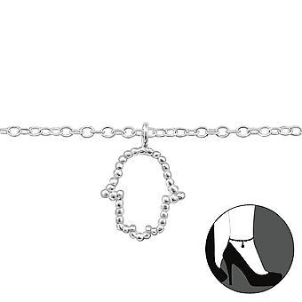Hamsa - 925 Sterling Silber Fußkettchen - W31579X