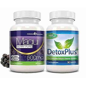 Maqui Beere und Detox reinigen Combo Pack - 1 Monat Versorgungsmaterial - Antioxidans und Colon Cleanser - Evolution abnehmen