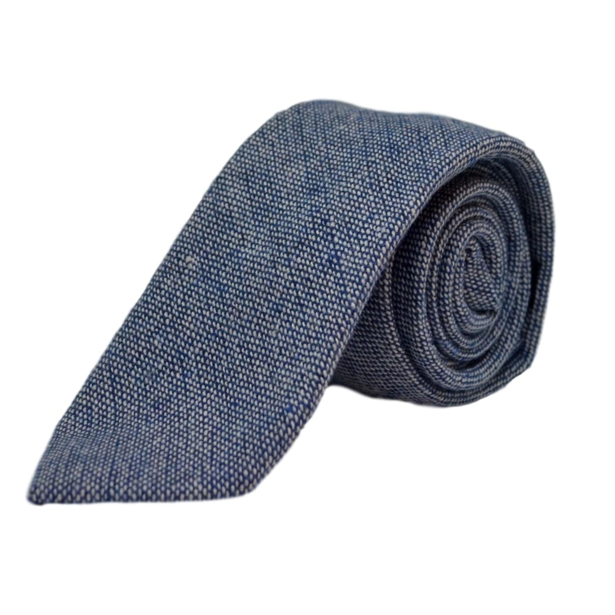 Highland Weave Stonewashed Blue Tie & Pocket Square Set