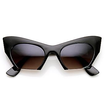 Semi-sin montura inferior corte gato ojo gafas de sol moda de la mujer