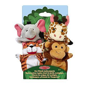 Melissa & Doug Zoo handdockor elefant giraff Tiger Monkey