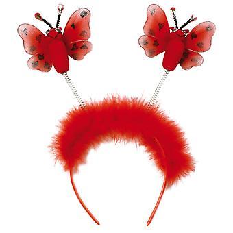 Hlavový pásek s brouci v červených poduších