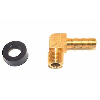 Big A Service Line 3-73124 1/8 NPTF Male Thread, 1/4 Inch Hose Barb Brass Elbow