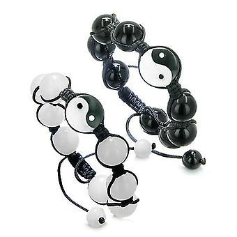 Yin Yang miłość para lub najlepszych przyjaciół równowagi Amulet pozytywnej energii bransolety Jade Onyx kamieni szlachetnych