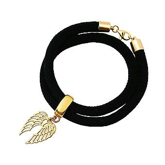 Gemshine vrouwen Armband wrap armband 925 zilver vergulde vleugels zwart