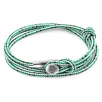 Anchor & Crew Green Dash Dundee Silver and Rope Bracelet