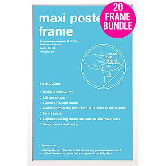 GB plakater 20 hvit Maxi plakat rammer 61x91.5cm Bundle