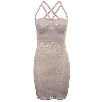 Panie bez rękawów Krzyża tyłu klatkach metalowe koronki nakładki pokryte sukienka Bodycon