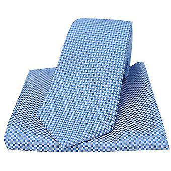 David Van Hagen Neat Checked Tie and Pocket Square Set - Blue